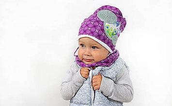 Detské čiapky - Fialový setík - 7182274_