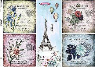 Papier - ryžový papier kvety a Paríž - 7185365_