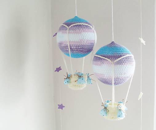 Hračky - háčkovaný balón - fialovo-tyrkysový 1ks SKLADOM - 7184165_