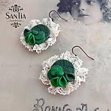 Náušnice - Náušnice: Romantická zeleno-bežová - 7185485_