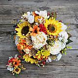 Svadobná kytica pre nevestu- jesenná so slnečnicami
