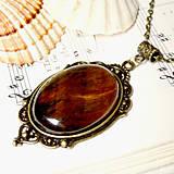 Náhrdelníky - Vintage Tiger Eye in Bronze / Masívny náhrdelník s tigrím okom v bronzovom prevedení - 7186446_