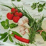 Papier - S797 - Servítky - bylinky, cesnak, rajčina, paprika - 7187674_