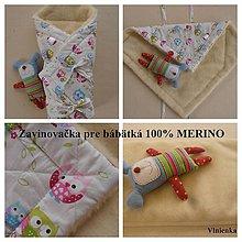 Textil - Zavinovačka pre bábätka Merino sovička - 7188941_