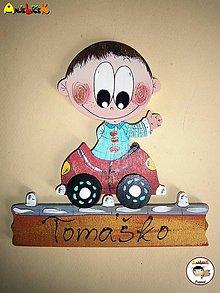 Tabuľky - Menovka - chlapec a auto - 7189710_