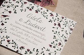 Papiernictvo - Svadobné oznámenie s vtáčikmi - 7187063_