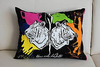 Úžitkový textil - Maľovaný vankúš Tigre - 7189030_