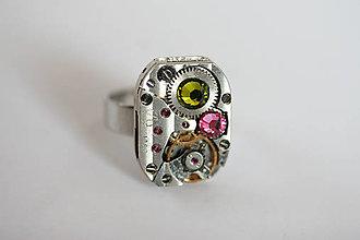 Prstene - Steampunkový prsteň a Swarovski - 7186648_