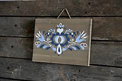 Obrázky - Folklórny ornament na dreve v modrom - 7187561_
