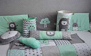 Úžitkový textil - 7 - dielna sada Detská izba BASIC mentolová - 7193884_