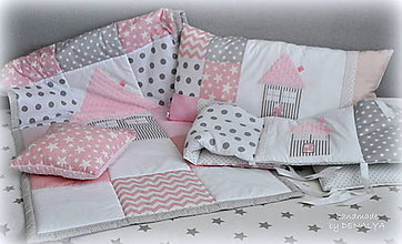 Úžitkový textil - 5 dielna sada DETSKÁ IZBA Basic ružová s domčekom - 7193913_