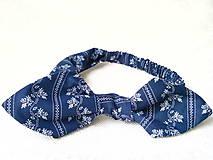 Pin Up headband on elastic (dark blue folklore)
