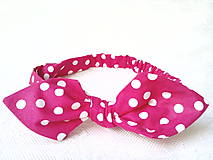 Ozdoby do vlasov - Pin Up headband on elastic (fuchsia with white polka dots) - 7191701_