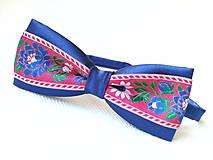 Doplnky - Folklórny pánsky motýlik (kráľovsky modrý/červený) - 7192933_