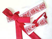 Svadobný folklórny opasok (červená/biela)