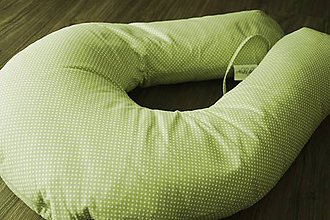 Detské doplnky - Vankúš na dojčenie zelený s bodkami - 7190397_
