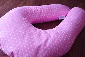 Úžitkový textil - Vankúš na dojčenie ružový s hviezdičkami - 7190439_