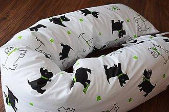 Úžitkový textil - Medzinožník / podkova na dojčenie biely so psíkmi - 7190538_