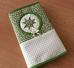 Papiernictvo - obal na knihu skladaný (zeleno - biely) - 7193006_