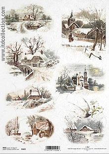 Papier - Ryžový papier Zimná krajinka - 7193590_