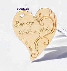 Darčeky pre svadobčanov - Drevená magnetka - Minisrdiečko - Sme svoji 1F - Akciová cena - 7191268_