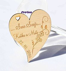 Darčeky pre svadobčanov - Drevená magnetka - Minisrdiečko - Sme svoji 1B - Akciová cena - 7191289_