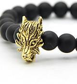 - Kovová korálka vlk zlatá - 7192610_