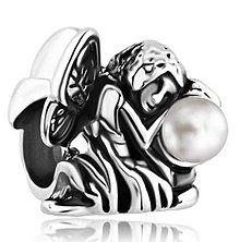 Korálky - Pandorková korálka anjelik s perlou - 7192263_