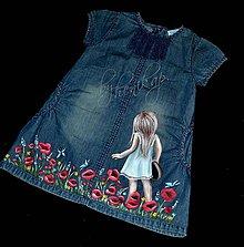 Detské oblečenie - riflové šaty ručne maľované - 7191980_