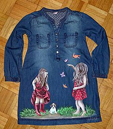 Detské oblečenie - riflové šaty ručne maľované - 7191984_