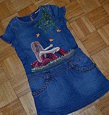 Detské oblečenie - riflové šaty ručne maľované - 7192000_