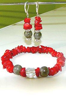 Sady šperkov - Setik na želanie z prirodneho karneolu a labradoritu ochranný kameň vnášajúci svetlo do života prináša silu a vytrvalosť - 7194825_