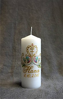 Svietidlá a sviečky - krstová sviečka s vtáčikmi - 7196120_