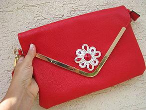 Kabelky - White-Gold-Red - listová kabelka...soutache - 7196235_