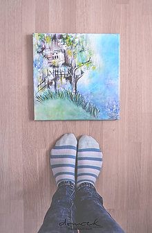 Obrazy - Domček, 30x30, originál - 7195162_