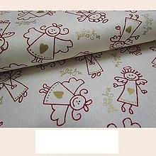 Textil - Anjelici na smetanovej š.140 cm - 7194497_