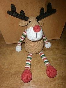 Hračky - Háčkovaný sob Rudolf - 7195193_