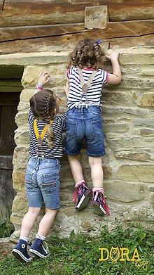 Detské doplnky - Detské, štýlové, béžové traky s béžovou kožou, veľ.2-6rokov - 7196397_