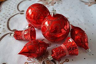 Dekorácie - Červený opál sada na stromček - 7195444_