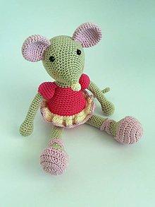 Hračky - Háčkovaná myška Baletka - 7196345_