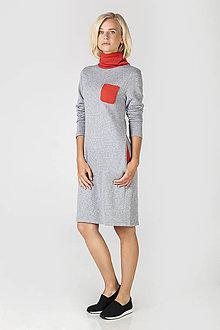 Šaty - Šedé úpletové šaty - 7194766_