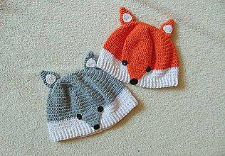 Detské čiapky - Líška či vĺčik :) - 7197349_