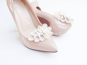 Obuv - Ivory so štrasom a perleťou - klipy na topánky - 7197810_