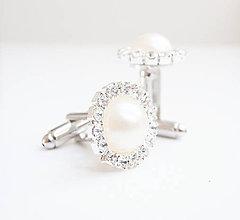 Šperky - Ivory so štrasom a perleťou - manžetové gombíky - 7197817_