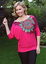 Tričká - Tmavoružové maľované tričko... - 7196719_