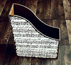 Krabičky - Hudobný zakladač,šanon notový vintage svadobný - 7199571_
