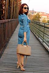 Šaty - Denimové šaty - svetlé - 7198317_