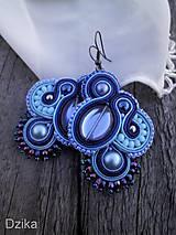 - Šujtášové náušnice - Modrá India - 7199103_