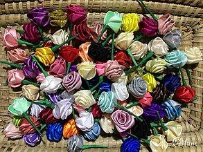 Materiál ručne robený - Textilné ružičky na stonke - 7197433_