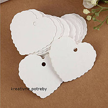 Papier - Set 10ks visačka srdce+šnúrka -biela, ihneď - 7199355_